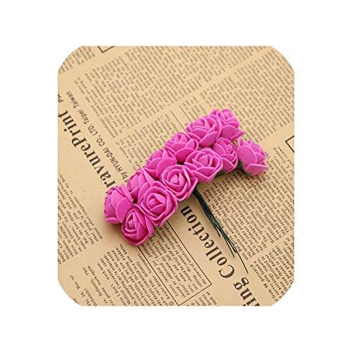 Small Basketball 144 pcs Mini Foam Rose Artificial Flowers for Home Wedding Car Decoration Pompom Wreath Decorative Bridal Flower Fake Flower,Rose Red