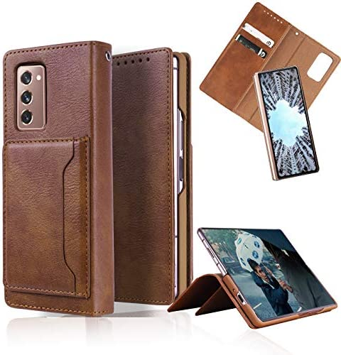 Hackers Case Compatible with Samsung Galaxy Z Fold 2, Premium PU Leather Detachable Wallet Case with Kickstand (Brown)