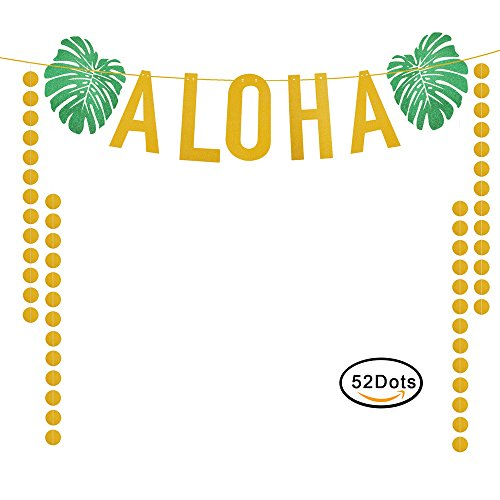 KissDate 3 Meter Glitter ALOHA Hawaiian Banner, Gold Circle Dots and Green Leaves Luau Garland for Tropical Summer Pool Beach Birthdays Party Decorations (Leaf Banner)