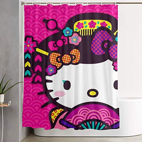 LIUYAN Shower Curtain with Hook - Hello Kitty with Fan Waterproof Polyester Fabric Bathroom Decor 60 X 72 Inches