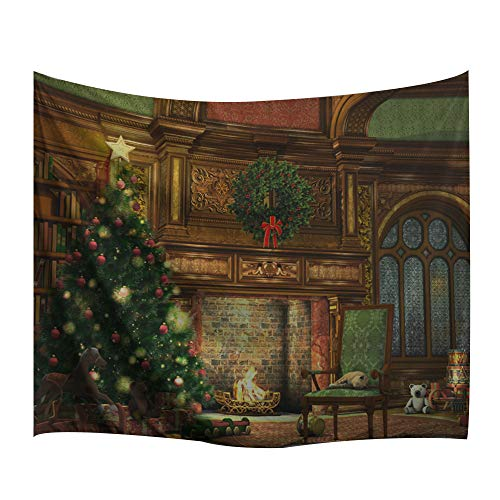 Christmas Mural - BEWAVE Christmas Decorations Wall Hanging, 3D Xmas Printed Polyester Fabric Holiday Wall Tapestry Art Valentine's Day for Living Room, Home, Bedroom Mural (51x60Inches, Christmas Fireplace)