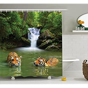 safari decor shower curtain set by ambesonne siberian tigers in water waterfall pool woodland swimming asian natural bathroom accessories