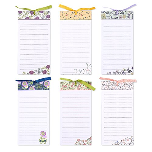 Set of 6 Magnetic Notepads - Magnetic Memo Pads, Fridge Notepads for Grocery Lists, To Do Lists, Family Chores, Assorted Colors and Floral Designs - 4 x 8 Inches
