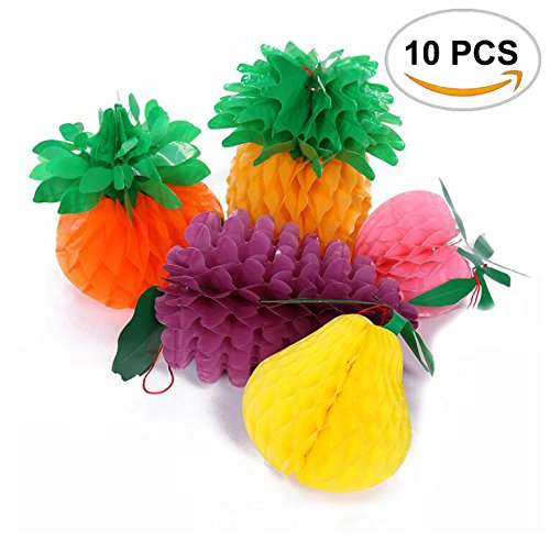 10PCS Sc0nni Waterproof Classic Designs Paper Fruit,Tissue Fruit Decorations Including Apple/Pear/Strawberry/Pomegranate/Orange With Hanging rope.(Color random)