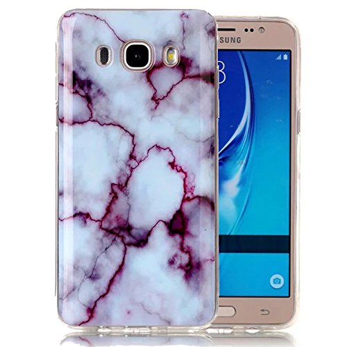 Galaxy J3 Case, Galaxy Amp Prime Case, Galaxy Express Prime Case, Ranyi [Marble Stone Series] Soft TPU Smooth Marble Pattern Case for Samsung Galaxy J3 / Amp Prime / Express Prime (red)