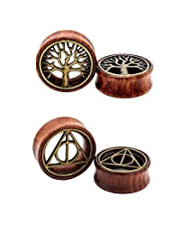 2 Pairs Hollow Tunnel Wood Ear Plugs Triangle and Tree Stretcher Piercing Set