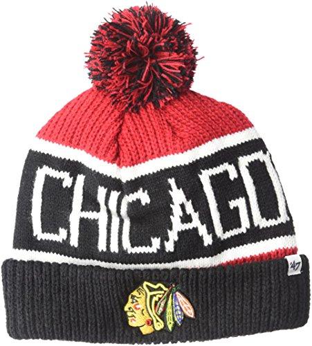 '47 NHL Chicago Blackhawks Calgary Cuff Knit Hat, One Size, Red (Hat Nhl Knit)