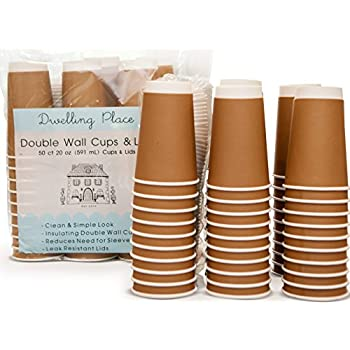 Amazon Com Premium 20 Oz Disposable Coffee Cups With Lids