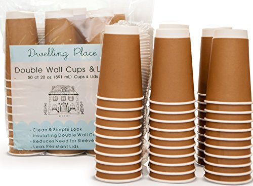 Premium 20 oz Disposable Coffee Cups with Lids (50 Ct) - Use your Coffee Maker then Pour into this Insulated Travel Cup, Skip Starbucks & Brew your Own Beans, Steep your Own Tea, Mix your Hot Cocoa! (Personalized Hot Chocolate)