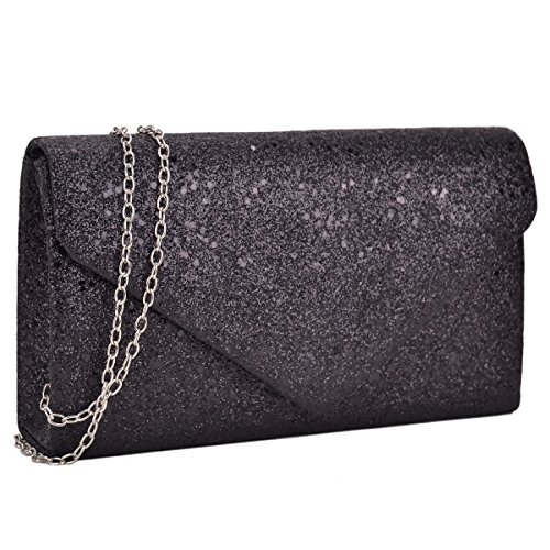 Women Glistening Evening Clutch Bags Formal Party Clutches Wedding Purses Cocktail Prom Clutches Black Silver Hardware ()