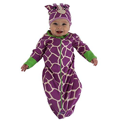 Sozo Baby Girls Giraffe Bunting & Cap Set, Purple, 0-6 Months