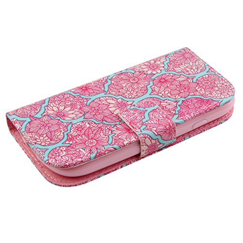 Funda para Galaxy S3 Mini, Flip funda de cuero PU para Galaxy S3 Mini, Galaxy S3 Mini Leather Wallet Case Cover Skin Shell Carcasa Funda, Ukayfe Cubierta de la caja Funda protectora de cuero caso del  cordón de Rose