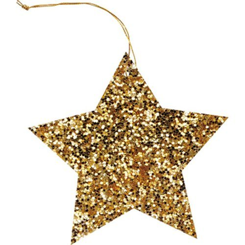 The Gift Wrap Company 6-Count Gift Tags, Gold Glitter Star