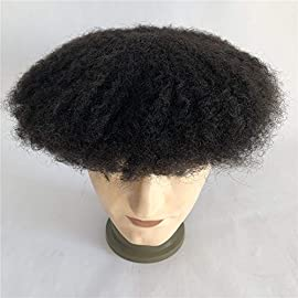 Lumeng Men Unit Short Afro Kinky Curly Male Toupee Human Hair Wigs Kinky Curly Full Lace Wig for Men (1# Jet Black)