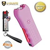 Personal Stun Gun Taser Flashlight Alarm Pepper Spray Keychain Self Defense Kit. Multi-Function Less Lethal Weapon Combo. Tactical Gear For Women Or Men While Walking , Camping Or Hiking (PINK)