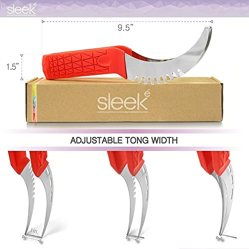 Watermelon Slicer & Tong by Sleeké - New Extended Silicone Cushioned Handle Made to Slice and Serve with Ease - No Mess, Less Stress by Sleeké (Image #4)