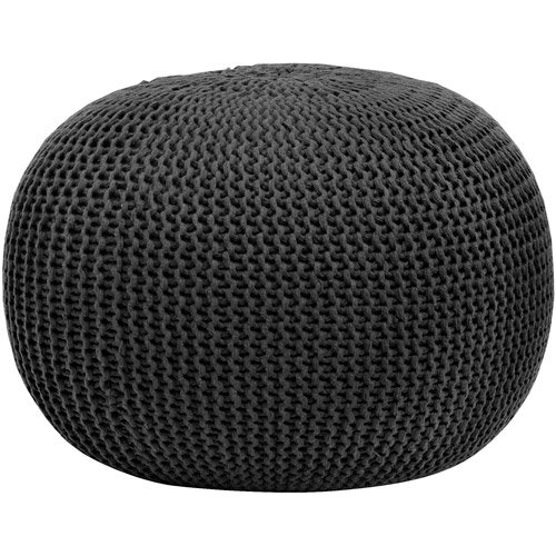 Urban Shop Round Knit Pouf - Black - Home Decor - Living or Bedroom Furniture - Contemporary Style - Polyester - Can Be Used As Seating, a Footrest or a Fun Accent Piece