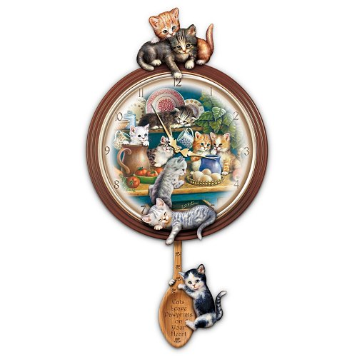 Kitchen Capers Cat Art Decorative Wall Clock Gift Idea by The Bradford ()