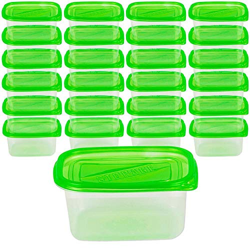 DecorRack 24 Food Storage Containers with Lids, 24oz Portion Control -BPA Free- Plastic Meal Prep Deli Container Airtight Reusable Disposable Lunch Bento Box for Freezer Sandwich Salad Leftover (24pk)