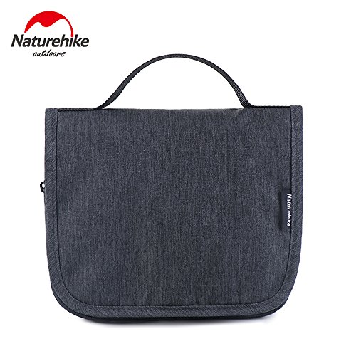 Naturehike Unisex Hanging Toiletry Bag Outdoor Camping Business Travel Cosmetic Bag Wash Bag Carry on Goods (Dark gray)