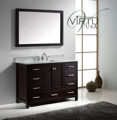 Virtu Usa Gs 50048 Wmsq Es Caroline Avenue Single Square Sink Vanity In Espresso With Marble Vanity Top In Italian Carrera And Mirror  48 Inch  Dark Wood