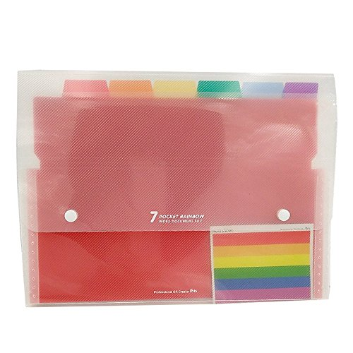Goblin's Treasures Portable File Folders/Portable Accordion File Folders/Rainbow Expandable A4 Paper and Letter Size/Expanding Letter Organizer (7 Pockets) ()