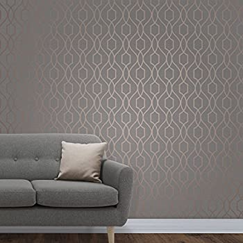 apex geometric trellis wallpaper charcoal grey and copper fine decor fd41998 - Trellis Wall Paper