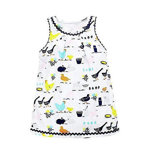 Eazy E Costume Uk (Huaqiang fashion Kids Dresses for Girls Clothing 100% Cotton Jersey Baby Girls Summer Dress Birthday Print Robe Enfant Princess Dress Costumes 82 3T)