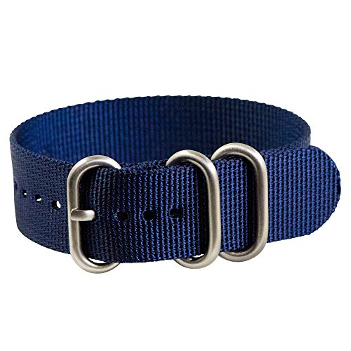 Clockwork Synergy - 3 Ring Heavy NATO Brushed Steel Watch Strap Bands (20mm, Navy Blue)