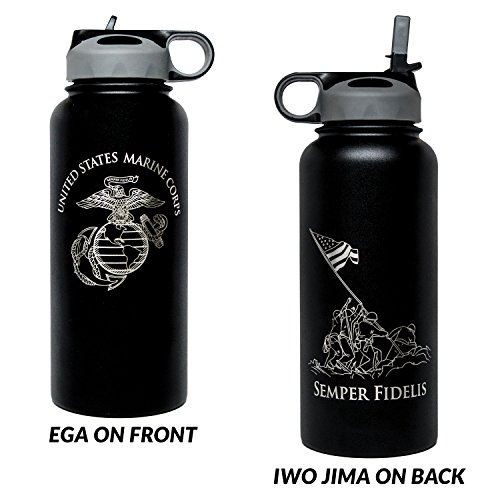 Military Gift Shop 32oz USMC Double Wall Vacuum Insulated Stainless Steel Marine Corps Water Bottle