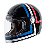 TORC Unisex-Adult T105AMT24 Retro Fiberglass Full-Face Style Motorcycle Helmet with Graphic (Americana Tron Gloss Black, Large), 1 Pack