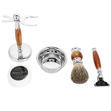 5 EN 1 Afeitado Set Afeitadora Durable para Hombres Tool Mango de Madera de  Lujo Afeitado 836297be3cf4