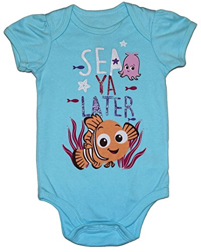 (Disney Finding Nemo SEA YA LATER Baby Girls Bodysuit Dress Up Outfit (3-6 Months, Light)