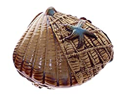 JustNile Ceramic Beach Picnic Table Ashtray -Scallop with Lid
