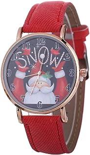 Maserfaliw Christmas Watch Santa Claus Deer Round Dial Arabic Number Analog Unisex Quartz Watch Black