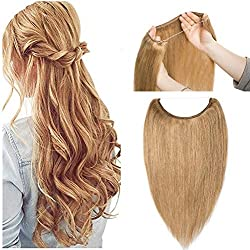 Hidden Invisible Crown Flip on Human Hair Extension One Piece Secret Miracle Wire in Hairpieces No Clip No Tape in Remy Hair Translucent Fish Line Headband 70g 20''/20inch #27 Dark Blonde