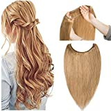 Hidden Invisible Crown Flip on Human Hair Extension One Piece Secret Miracle Wire in Hairpieces No Clip No Tape in Remy Hair Translucent Fish Line Headband 65g 18''/18inch #27 Dark Blonde