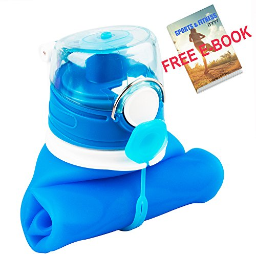 ITYYT Silicone Collapsible Water Bottle 26oz BPA Free with Free E-book for Sports & Outdoors (Blue)