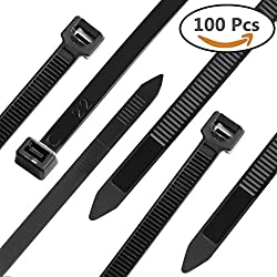 Cable Zip Ties Heavy Duty 12 Inch, Eaxer Ultra Strong Plastic Wire Wraps with 120 LB Tensile Strength, Industrial Grade Nylon Ties for Indoor and Outdoor Use, 100 Pack, (White & UV Resistant Black)