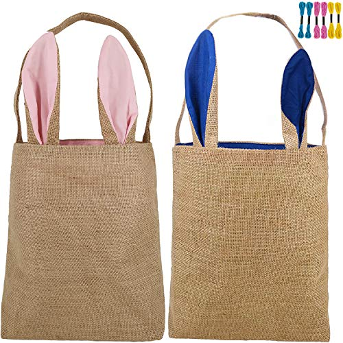 Easter Basket for Kid Personalized Bunny Egg Baskets with Cross-Stitch Line Burlap Tote Gift Bag Jute Bags for Embroidery DIY Daily Use (2 Pack, Pink + Dark Blue) Y073