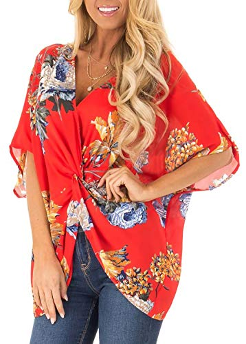 Sousuoty Batwing Sleeve Tops for Women Loose Fitting Bohemian Blouse Red M