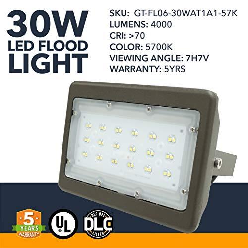 (LED DLC Flood Light - 30W - LED S-Series Outdoor Flood Mount Light Office Premise Lights, 4000 Lumens - Commercial or Residential Grade Area Security Flood Light - 5700K - 5 Year Warranty)