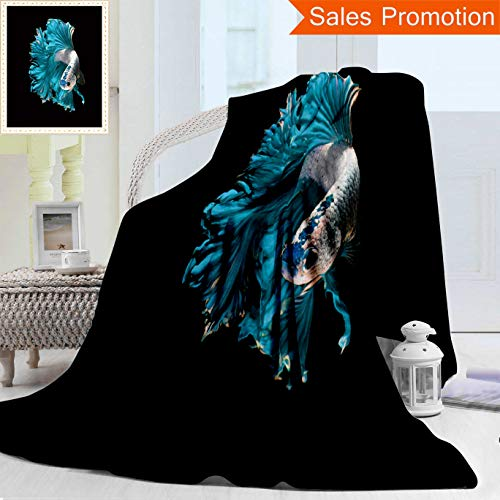 Opposo Unique Custom Warm 3D Print Flannel Blanket Turquoise Dragon Siamese Fighting Fish Betta Fish Isolated On Black Background Cozy Plush Supersoft Blankets for Couch Bed, Twin Size 60