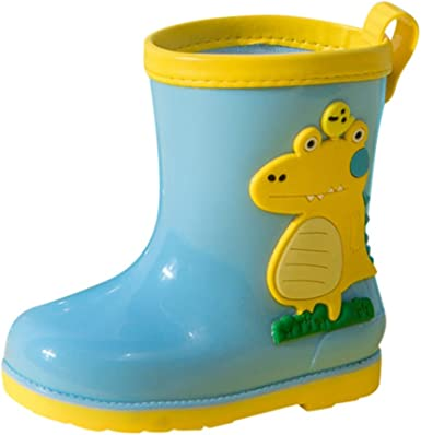 Girls Water Boot Toddlers rain Shoe with Easy-On Lightweight Kids Rain Boots for Boys PVC Children Waterproof Shoes