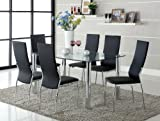 Furniture of America Novae 7-Piece Dining Set with Black Chairs