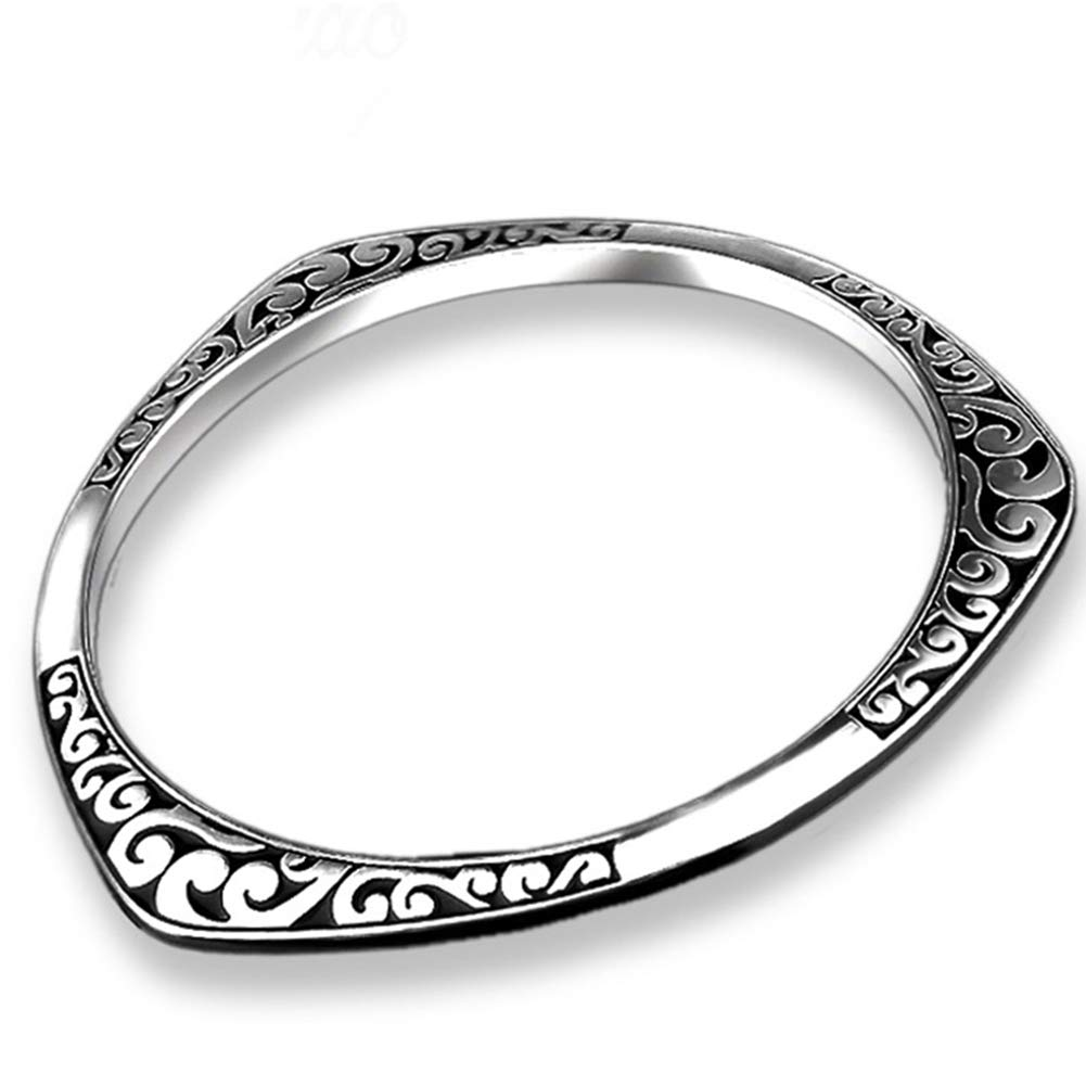 Lx10tqy Fashion Silver Plated Carved Pattern Alloy Women Bangle Bracelet Jewelry Gift Silver