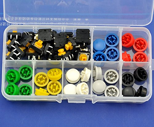 7 Caps (Electronics-Salon B3F-4055 Tactile Switch and 7 Color Button Cap Assortment Kit, 12x12x7.3mm Momentary. Color: Green Yellow Red Gray White Black Blue.)