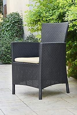 Allibert by Keter Iowa Rattan Balcony Outdoor Garden Furniture Set Graphite with Grey Cushions