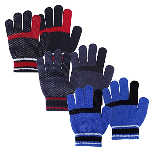 Magic stretch gloves, Winter warm gripper gloves, 3 pairs Multi color set, Kids size for Boys or Girls (blue/navy/red, 8+)