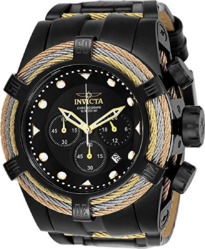 Invicta Reserve 23055 Men's 52mm Bolt Zeus Tri Cable Swiss Quartz Chronograph Leather Strap Watch